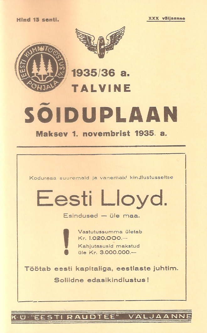 Estonia 1935 railway timetable (REPRINT)